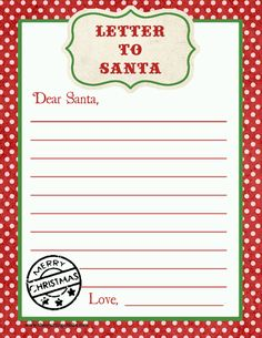 Free printable letter to santa template cute christmas wish list free printable letter to santa spiritdancerdesigns Images