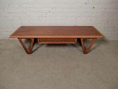 Long Danish Mid century Modern Teak Coffee Table by Kurt ˜stervig