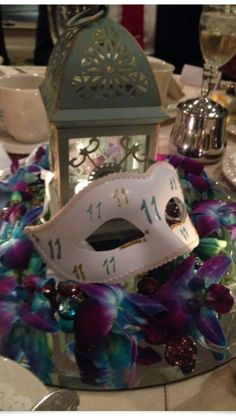 Masquerade Mask Table Numbers!! I had fun designing all the masks for my wedding. October wedding in purple and jade..