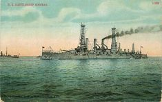 "Postcard U S Navy Battleship ""Kansas"" - circa 1910 - Great White Fleet"