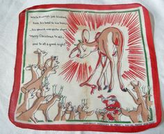 Vintage 1929 Rudolph The Red-Nose Reindeer Handkerchief + Santa   eBay