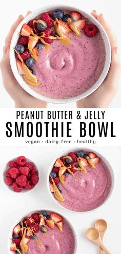 This peanut butter and jelly smoothie bowl is sweet tart and nutty! It's a healthy smoothie recipe that takes the classic PB&J sandwich to a whole new level. Combine oats berries peanut butter and oat milk to create an easy dairy-free smoothie bowl! Vegan Smoothie Recipes, Oat Smoothie, Peanut Butter Smoothie, Vegan Breakfast Recipes, Healthy Smoothies, Healthy Food, Vegan Breakfast Smoothie, Detox Breakfast, Raw Food