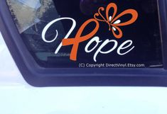 Hope With Orange Ribbon And Butterfly Window Decal by directvinyl