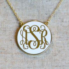 Monogram White Enamel Necklace