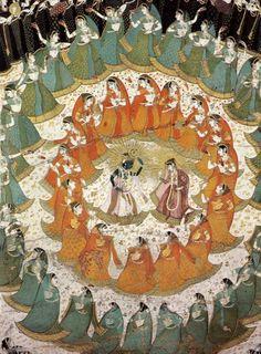 Rasamandala aka the circle dance of Krishna and the gopis. Jaipur, 1750. Note the full skirts and voluminous upper drape of the 18th century