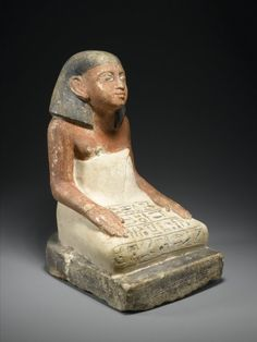 Seated Statuette of Si-Hathor - Medium: Limestone, painted Reportedly From: Thebes, Egypt Dates: ca. 1818-1630 B.C.E. Dynasty: late XII Dynasty-early XIII Dynasty Period: Middle Kingdom