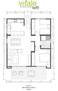 Casas Prefabricadas Modulares de Hormigón - Modelo Optima 75 m2