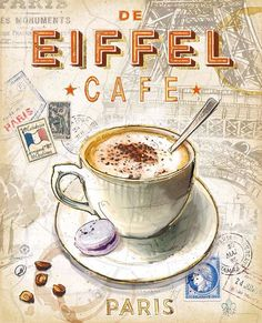 Paris-themed coffee print