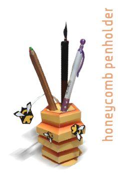 Honeycomb Papercraft Penholder Finished Photo by Kna.deviantart.com on @DeviantArt