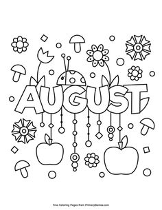 Printable August Pdf Coloring Page. High quality free printable coloring, drawing, painting pages here for boys, girls, children . Summer Coloring Pages, Easy Coloring Pages, Coloring Sheets For Kids, Free Printable Coloring Pages, Coloring Books, Free Printables, August Colors, Month Colors, Free Adult Coloring