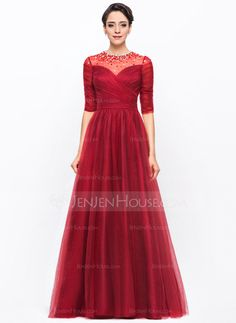 A-Line/Princess Scoop Neck Floor-Length Tulle Charmeuse Evening Dress With Ruffle Beading Sequins (017056105) - JenJenHouse
