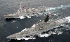JS Hiei (DDH-142) - Haruna class Destroyer (Japan) and USS Mustin (DDG-89) - Arleigh Burke class Destroyer (USA)