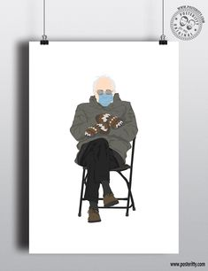Bernie Sanders - Inauguration Mittens — Posteritty Minimal Poster, Card Envelopes, Bernie Sanders, Poster On, Minimalist Art, All Print, Mittens, Greeting Cards, Wall Art