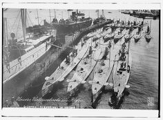 German submarines in harbor (LOC) by The Library of Congress, via Flickr