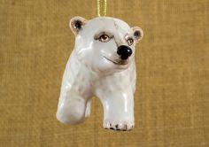 Majolica ceramic ornament Polar Bear Cub by AnnaLuninGiftShop