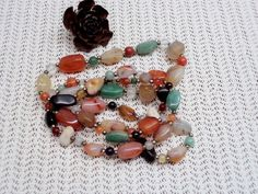 Vintage Polished Agate Necklace SemiPrecious by GuestFromThePast