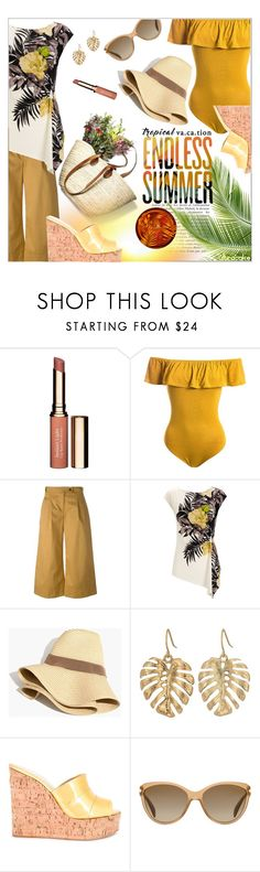 """""""Tropical Vacation: Endless Summer"""" by ultracake ❤ liked on Polyvore featuring Clarins, Sans Souci, Société Anonyme, Wallis, Madewell, The Sak, Giuseppe Zanotti, Prada, ultracake and TropicalVacation"""
