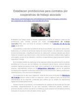 Establecen Prohibiciones Para Contratos Por Cooperativas de Trabajo Asociado