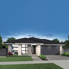 Airlie single storey, double garage home design with Accent facade Hip Roof Design, House Front Design, House Plans Australia, Garage House Plans, Contemporary House Plans, Modern Bungalow, Double Garage, Exterior House Colors, House Entrance