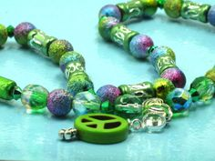 Girls Green Turquoise Peace Sign Crystal by ChildWithStyle on Etsy, $18.00