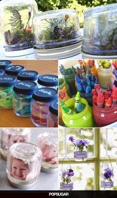 Recycling's great, but upcycling is both fun and productive! Baby food pouches may be slowly overtaking traditional glass jars when it comes to little ones' Crafts With Glass Jars, Mason Jar Crafts, Mason Jars, Baby Jars, Baby Food Jars, Food Baby, Baby Bottles, Beechnut Baby Food, Baby Formula Cans