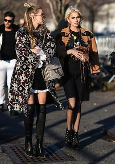 Caroline Daur is seen wearing a brown and black leather coat black skirt and Gucci belt outside the Coach show during New York Fashion Week Women's...