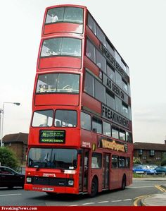 Believed to be the world's tallest bus. You'd have a great view from up top but.....