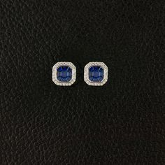 Blue Sapphire & Diamond Earrings