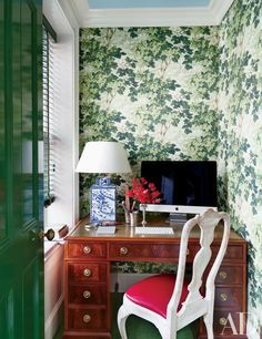 The office of a Brooklyn home by Nick Olsen features Zoffany wallpaper and a Vaughan lamp | archdigest.com