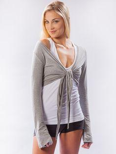 Crop Bell Sleeve Tie Front Heather Gray