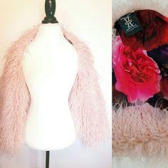 Pink Fur Shrug Faux Fur Wrap Fur Bolero Long by EbyEvelynDesigns