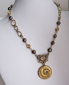 Repurposed Art Nouveau Locket Gold Filled Pearl by jryendesigns, $185.00