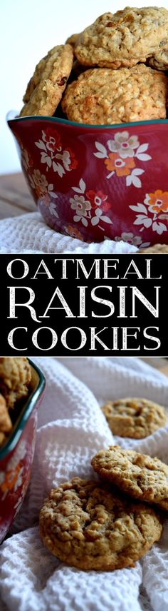 Oatmeal Raisin Cookies are the epitome of home style cookies and baked comfort treats. I think everyone has an Oatmeal Raisin Cookie recipe, but I think this one is the best! Oatmeal Raisin Cookies are a classic! Best Cookie Recipes, Healthy Dessert Recipes, Brownie Recipes, Sweet Recipes, Baking Recipes, Delicious Desserts, Bar Recipes, Yummy Recipes, Oatmeal Raisin Cookies