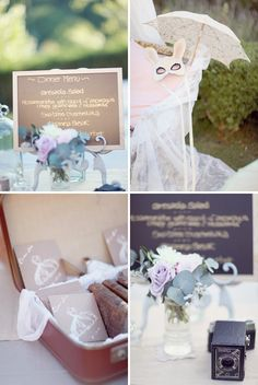 vintage wedding decor with a whimsical touch  oh!  we can use the old cameras we have at the house