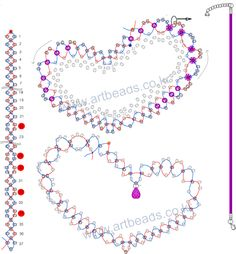 A pattern for beautiful heart pendant [ad Beading Patterns Free, Bead Loom Patterns, Beading Tutorials, Jewelry Patterns, Free Pattern, Beaded Jewelry, Beaded Bracelets, Beaded Bead, Wire Jewelry