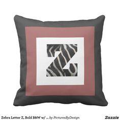 Zebra Letter Z, Bold B&W w/ Cranberry, B&W Chevron Throw Pillows