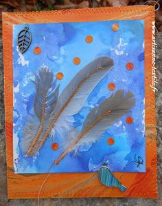 tableau mixed -media: plumes