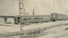 Interurban rail cars on Virginia Point after the 1915 hurricane.Virginia Point was a small community located at the edge of the Mainland. In 1840, a ferry operated across the bay to Galveston. When the Galveston, Houston, & Henderson Railroad was initially built, tracks were laid between Houston and Virginia Point.