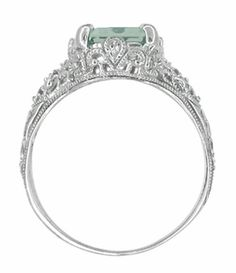 Edwardian Filigree Emerald Cut Prasiolite ( Green Amethyst ) Ring in Sterling Silver - Item SSR618GA - Image 3