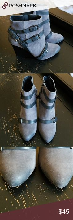 Grey belted wedge bootie Rebecca Minkoff Maggie belted bootie. Grey suede and black leather belts with silver buckles make it cute and edgy.  Wedge is 4.5 in high. Minimal scuffs on front. I love these booties but I have barely worn them. Rebecca Minkoff Shoes Ankle Boots & Booties