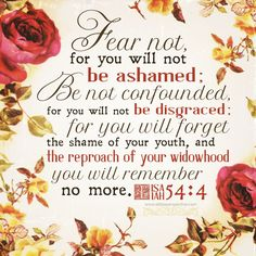 Fear not, for you will not be ashamed; Be not confounded, for you will not be disgraced; for you will forget the shame of your youth, and the reproach of your widowhood you will remember no more. Isa 54:4 <3