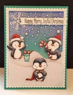Joyful Penguin Christmas by DJRants - Cards and Paper Crafts at Splitcoaststampers Dyi Christmas Cards, Christmas Bird, Handmade Christmas, Holiday Cards, Merry Christmas, Scrapbooking, Winter Cards, Cardmaking, Birthday Cards