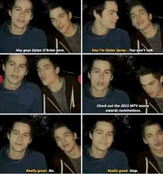 Dylan O´Brien & Dylan Sprayberry 2015 MTV movie awards announcement a few days ago Teen Wolf Quotes, Teen Wolf Funny, Teen Wolf Memes, Teen Wolf Boys, Teen Wolf Dylan, Teen Wolf Stiles, Teen Wolf Cast, Dylan Sprayberry, Dylan O'brien