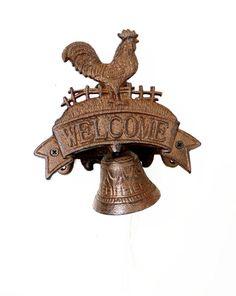 "Handmade Doorbell 7"" Cast Iron Rooster Home Decor Interier Welcome Ring Gift  #HomeDecor"