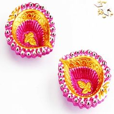 Buy set of two colorful diya at low price from mebelkart.com