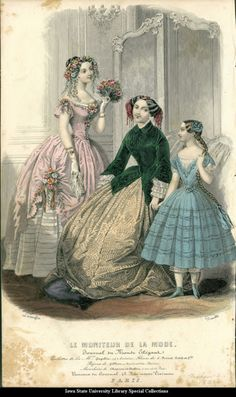 House dresses for women and girls, 1851 France, Le Moniteur de la Mode