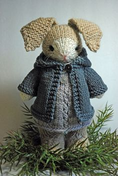 Muriel - Knitted Bunny Rabbit toy in Woolen dress with Cotton Hoodie