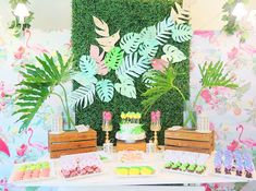 Vivienne's Tropical Pink Flamingo Themed Party – Birthday Edible Flowers, Pink Flowers, Warm Colors, Vivid Colors, Painted Leaves, Hand Painted, Different Shades Of Pink, Tropical Fruits, Tropical Vibes