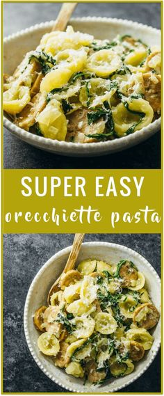 Orecchiette pasta recipe | easy pasta recipe | easy pasta dinner recipe | sausage arugula cheese onion | one pot | cheesy pasta recipe via /savory_tooth/