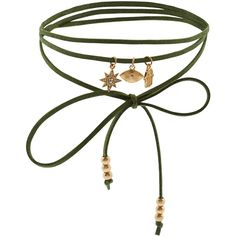 Accessorize Faux Suede Wrap Charm Choker Necklace (€10) ❤ liked on Polyvore featuring jewelry, necklaces, choker, accessories, gioielli, star charm necklace, bead charms, star necklace, wrap choker necklace and cord necklace